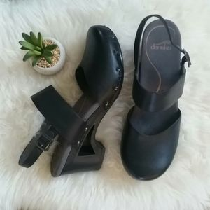 "Thea ANKLE STRAP Leather SANDALS Clogs 3""Heels"